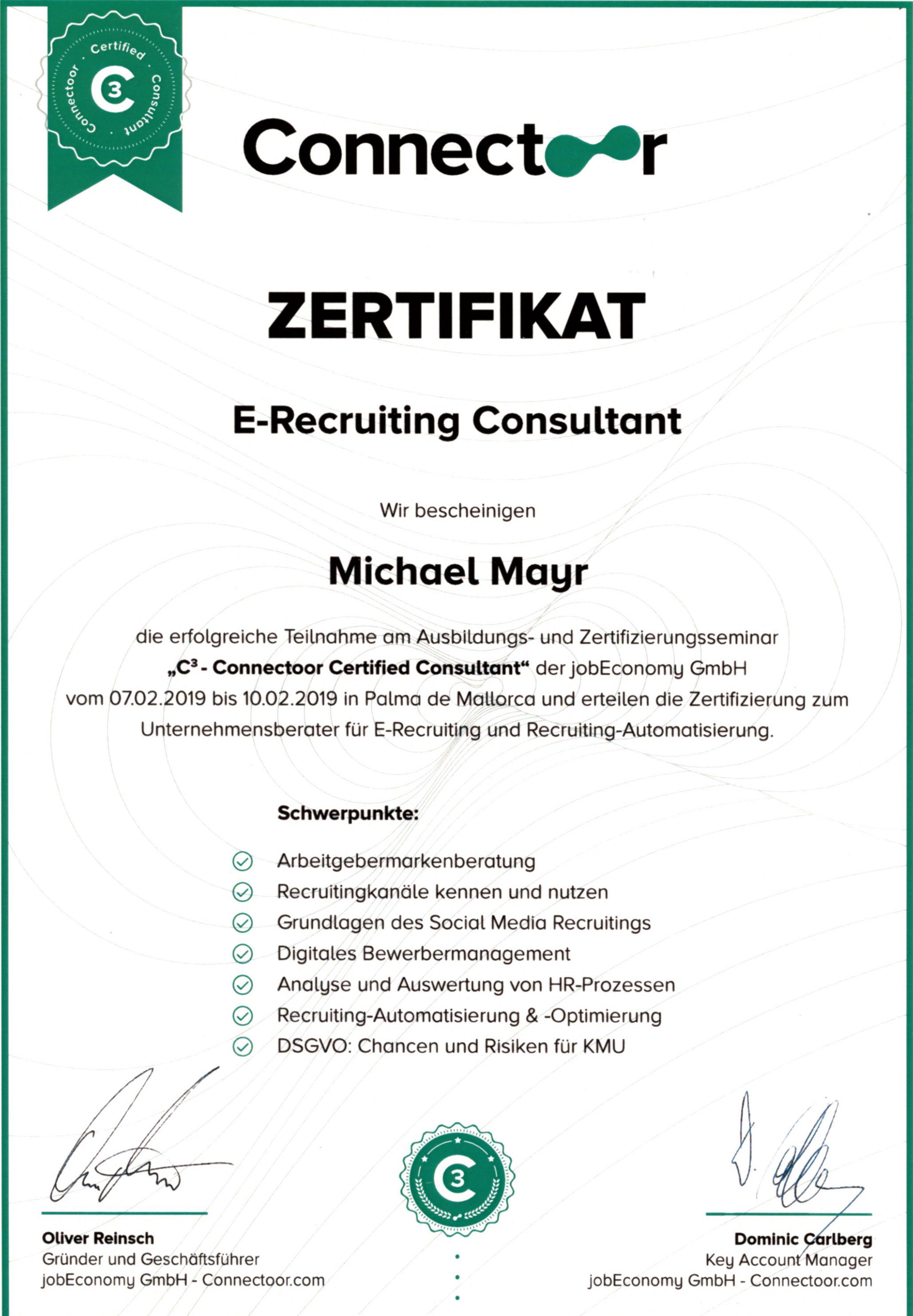 Connectoor-Zertifikat-Urkunde