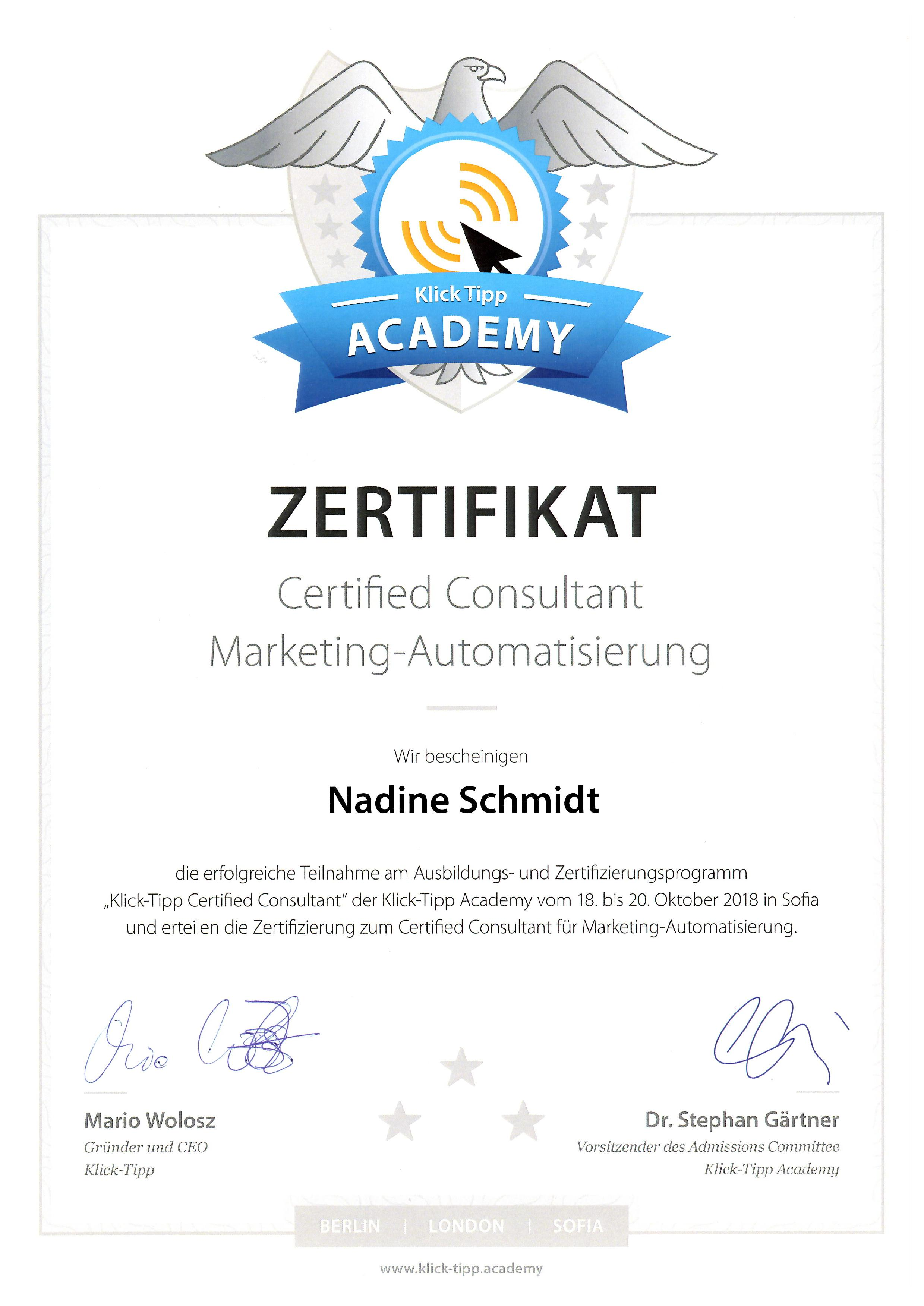 Zertifikat Certified Consultant Marketing Automatisierung